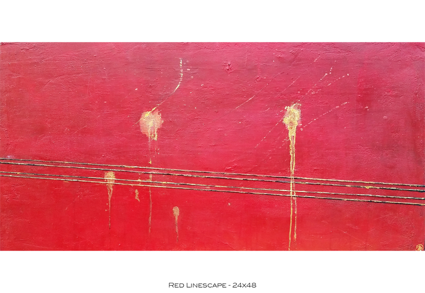 Red Linescape - 24x48