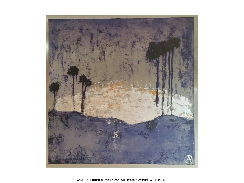 Palm Trees on Stainless Steel - 30x30