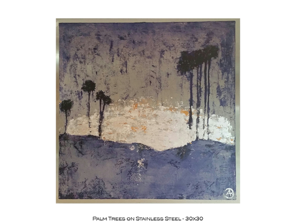 Palmtrees on Stainless Steel 30x30